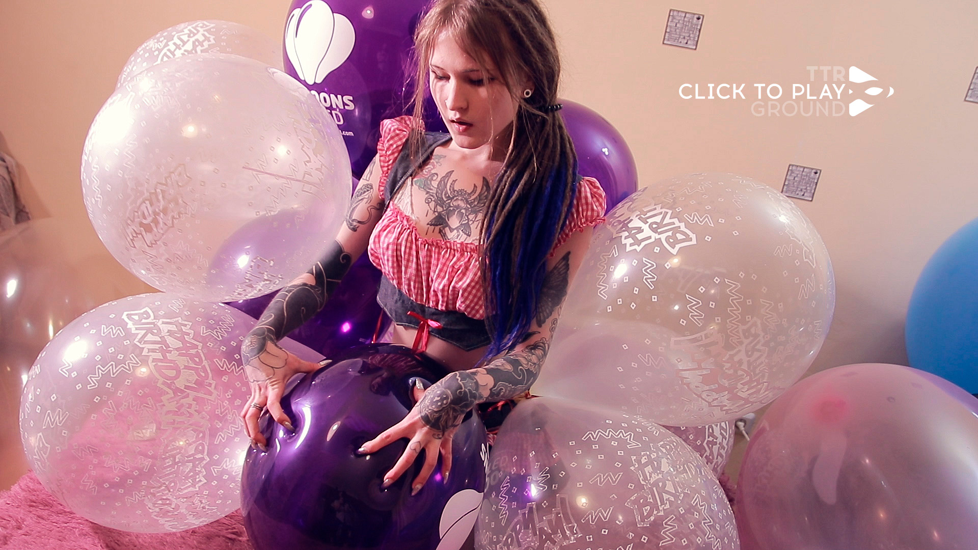 Naked Skinny Girl Plays With Pussy Sitting On Balloon Jumps On It Fetish